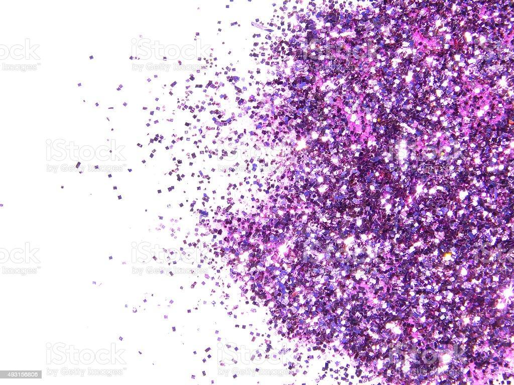 purple glitter sparkle on white background stock photo