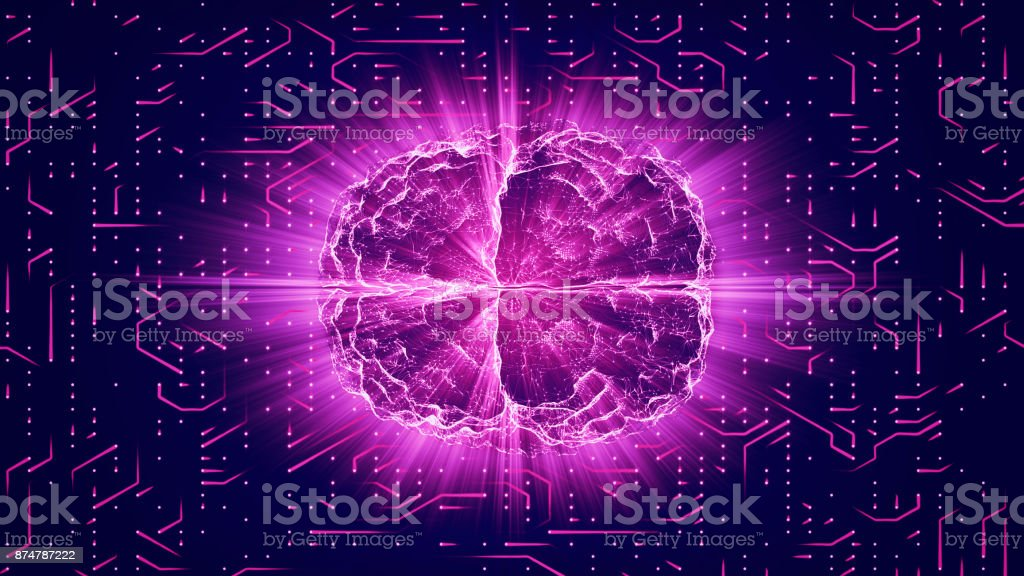 Purple glowing brain wired on neural surface or electronic conductors. Artificial intelligence (AI) and High Tech Concept. - foto stock