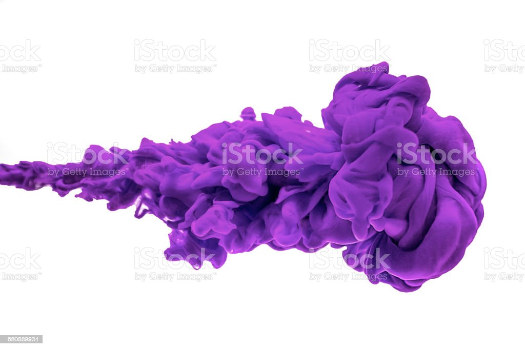 purple ink in water isolated on white background royalty-free stock photo