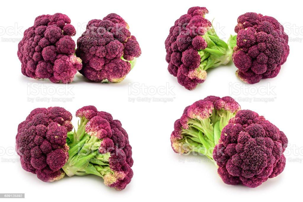 Purple italian cauliflower isolated on white background stock photo