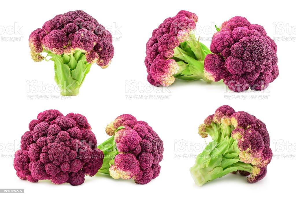 Purple italian cauliflower isolated on white stock photo