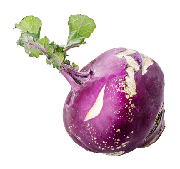 Purple kohlrabi isolated on white background. Clipping path Purple fresh kohlrabi isolated on white background. Clipping path brassica rapa stock pictures, royalty-free photos & images