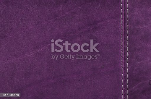 istock Purple  Leather Texture with Stitch Detail 157194879