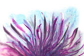 lilac and blue fairytale grass in watercolor on a white background