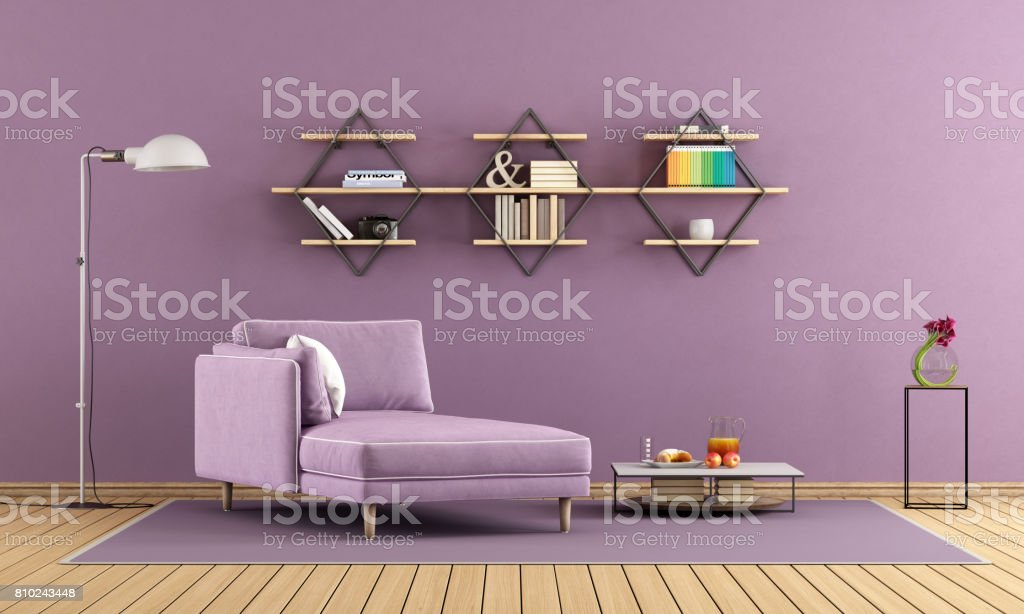 Purple living room with chaise lounge and shelves stock photo