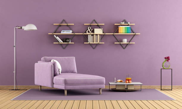 Purple living room with chaise lounge and shelves Modern living room with purple chaise lounge and shelves on wall - 3d rendering  chaise longue stock pictures, royalty-free photos & images