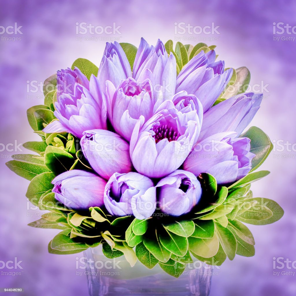 Purple lotus flower bouquet in a vase, view from above stock photo