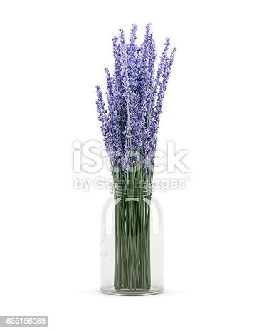 Digitally generated purple lupine flowers in a glass jar, isolated on white background.