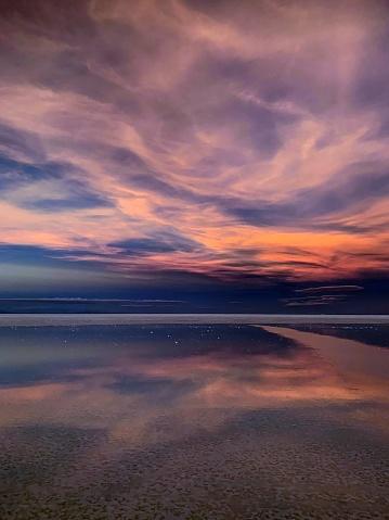Sunset heaven at Altiplano plateau, Andes mountains silhouette, Atacama desert.