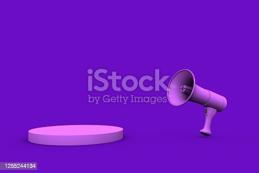 1055944594 istock photo 3D Purple Megaphone and Purple Stand on Purple Background 1255244134