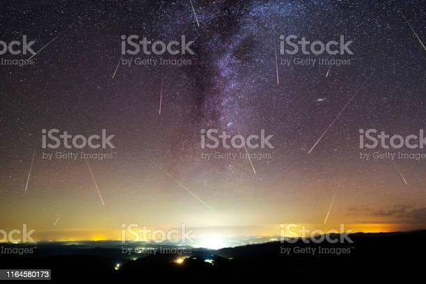 Photo of Purple Milky way falling stars city
