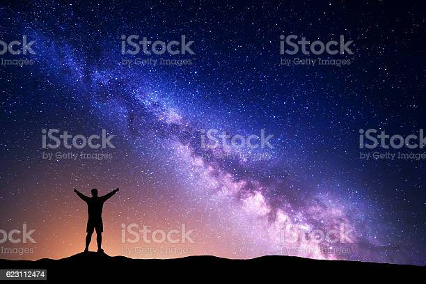 Photo of Purple Milky Way with silhouette of a standing man
