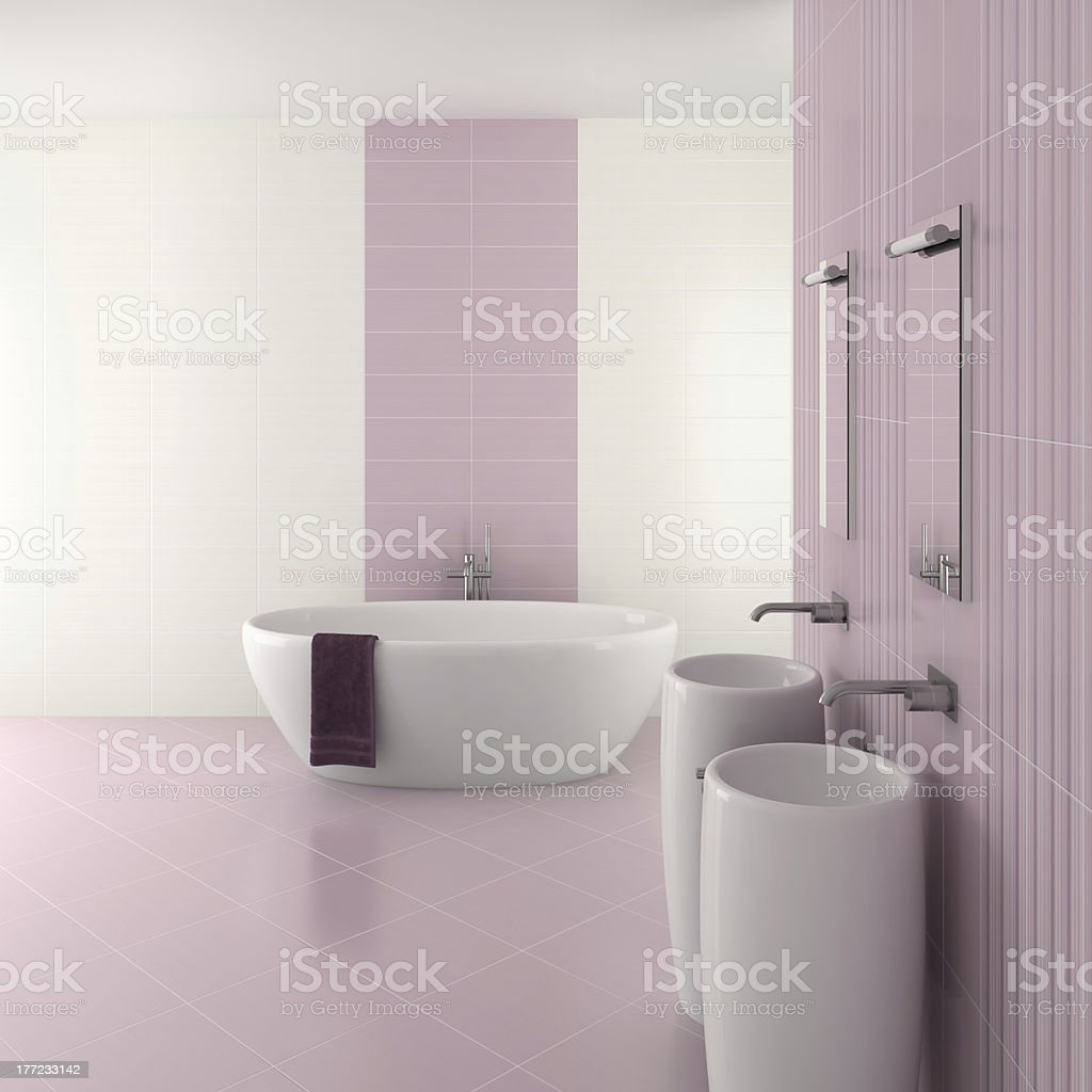 purple modern bathroom with double basin and bathtub royalty-free stock photo