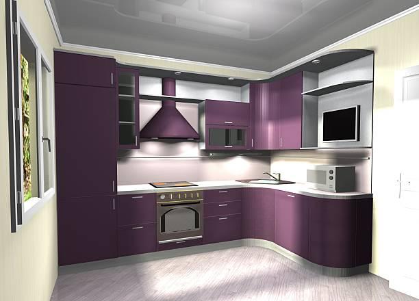 lila modernen küche 3d-abbildung - küche lila stock-fotos und bilder