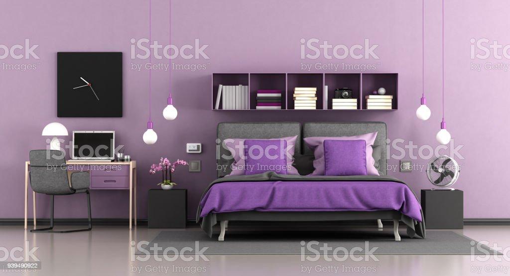 purple modern master bedroom royalty free stock photo
