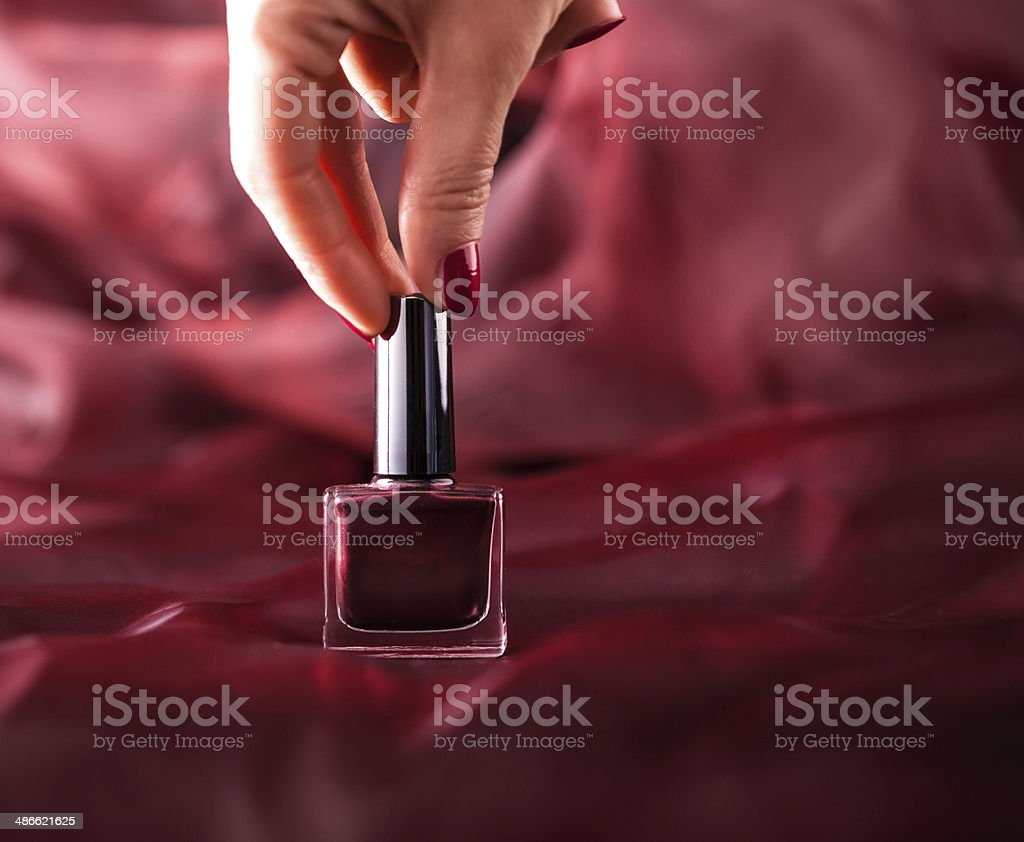 Purple nail polish royalty-free stock photo