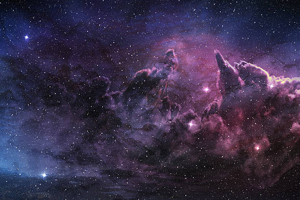purple nebula and cosmic dust purple nebula and cosmic dust in star field nebula stock pictures, royalty-free photos & images