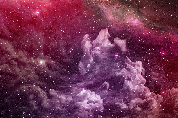 purple nebula and cosmic dust - outer space stock photos and pictures