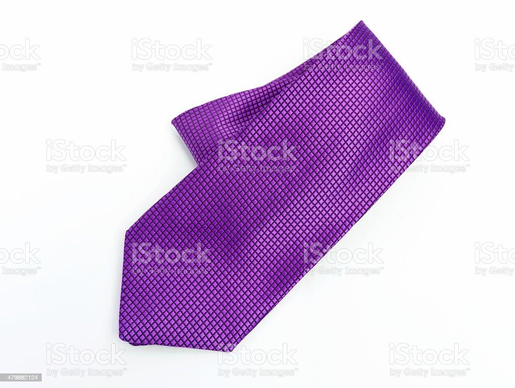 Purple necktie on white background stock photo