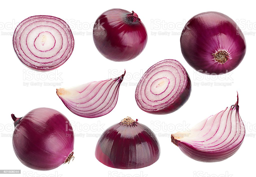 Purple onion collection on white foto stock royalty-free