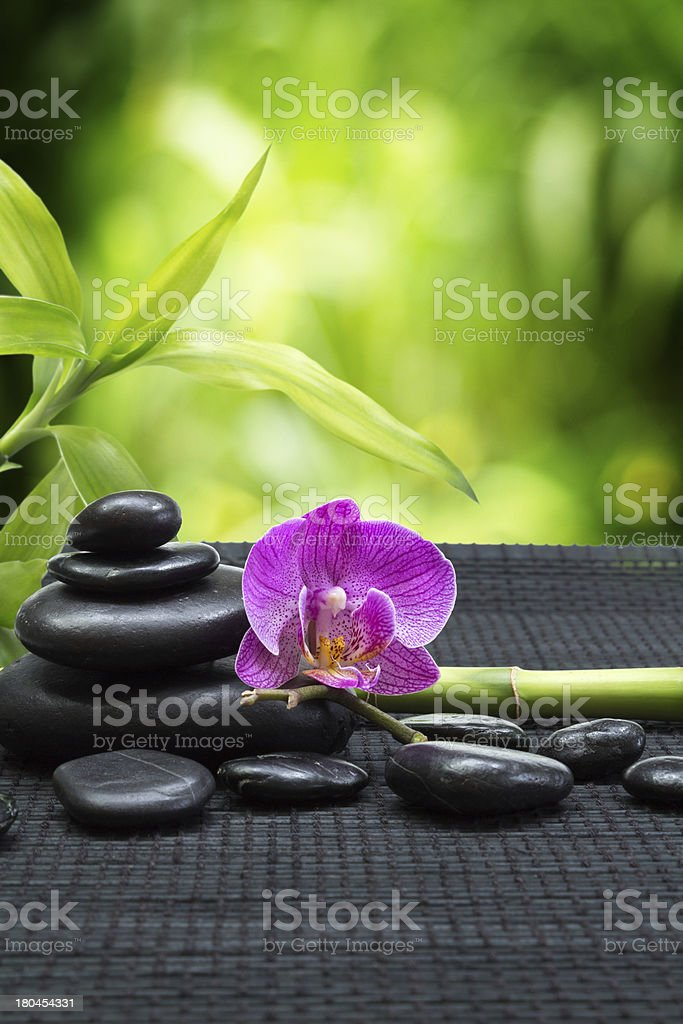 purple orchid with tower stones , bamboo on black mat stock photo