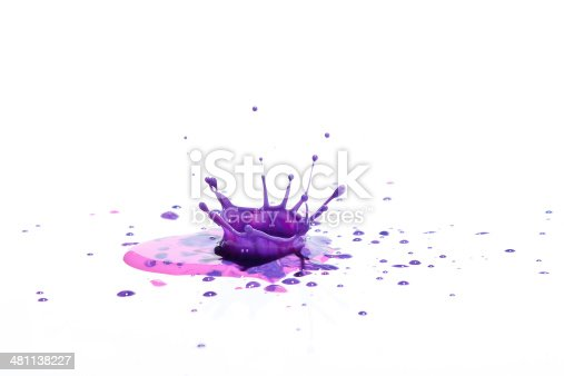 istock Purple paint splashing on white. 481138227