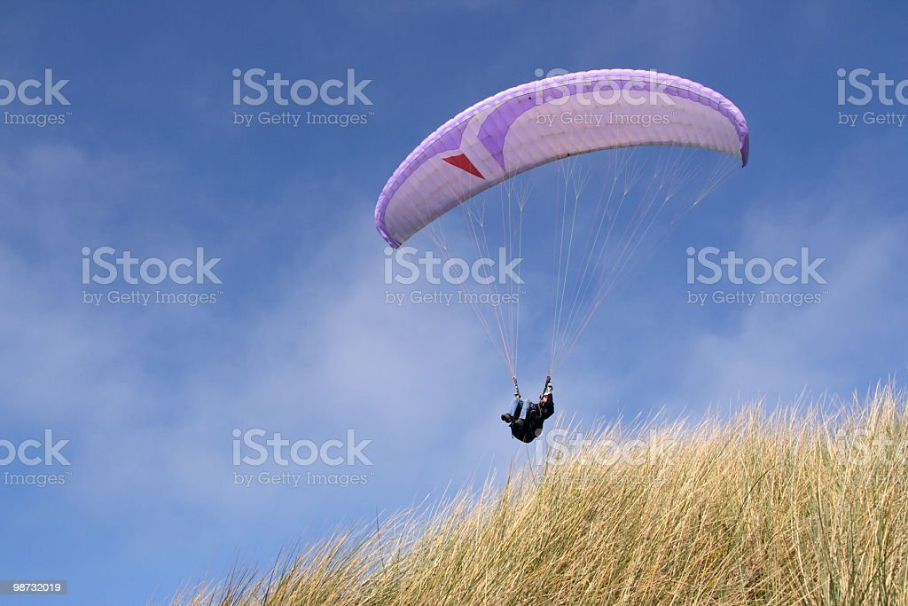 Purple paraglider royalty-free stock photo