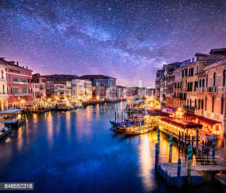 View of Grand Canal di Venezia from Ponte di Rialto at night with milkyway in the sky. Venice. Italy