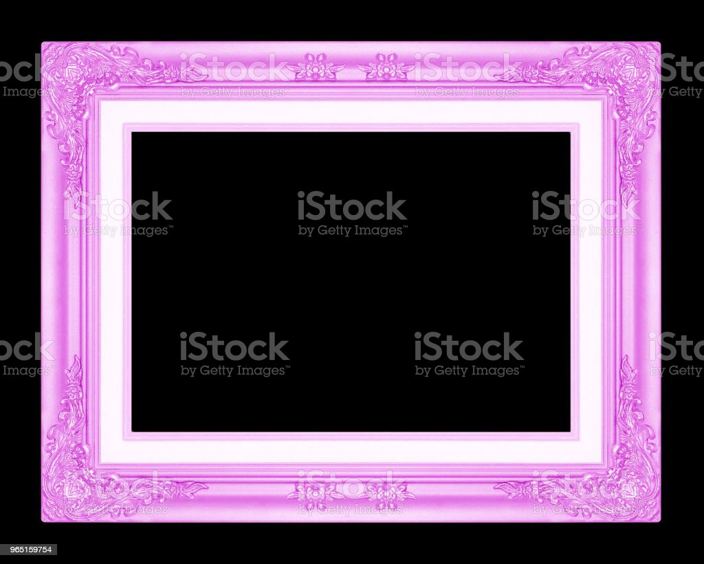 purple  picture frame isolated on black background. zbiór zdjęć royalty-free