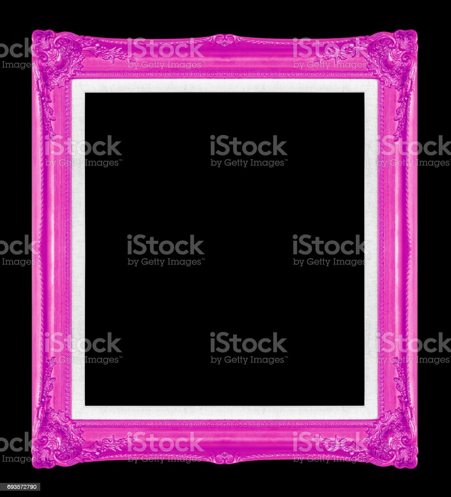 Purple Picture Frames Isolated On Black Background Stock Photo