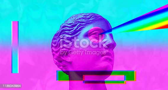 istock Purple pink antique sculpture on a retro vaporwave background. Contemporary art collage. 1135043954