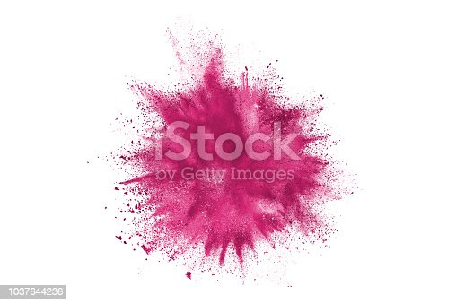 istock Purple powder explosion. The particles of charcoal splatter on white background. Closeup of colored dust particles splash isolated on background. 1037644236