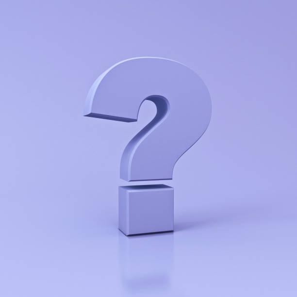 Point d'interrogation violet sur fond de couleur violet clair avec réflexion et rendu 3D ombre - Photo