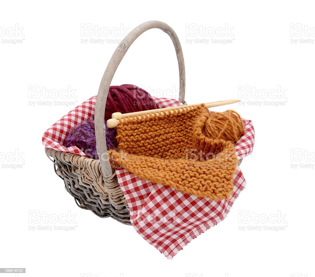 Purple, red and orange wool with knitting in a basket royalty-free stock photo