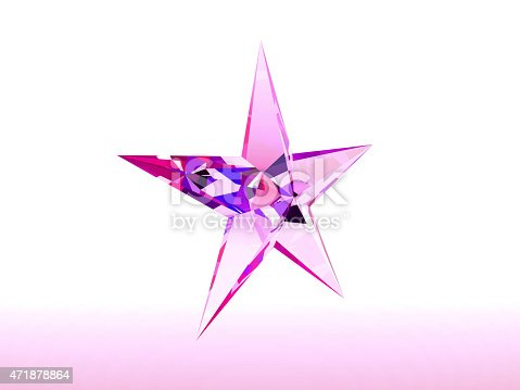 istock Purple reflective star in white background 471878864