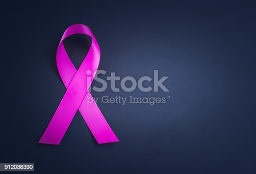 istock Purple ribbon awareness on black background  for World Cancer day. 912036390