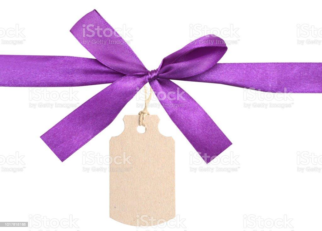 purple ribbon card note stock photo