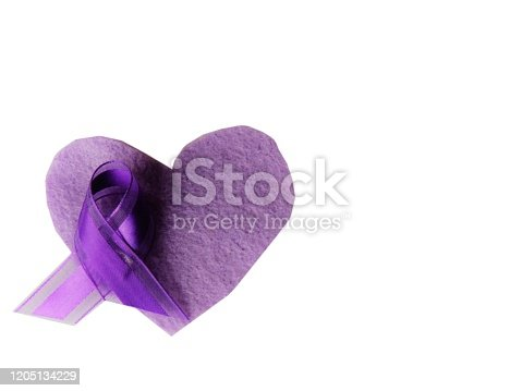 Purple ribbon on heart--Awareness month