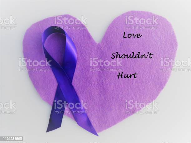 Purple Ribbon On Hearts Love Shouldnt Hurt Abuse Domestic Violence Stock  Photo - Download Image Now - iStock