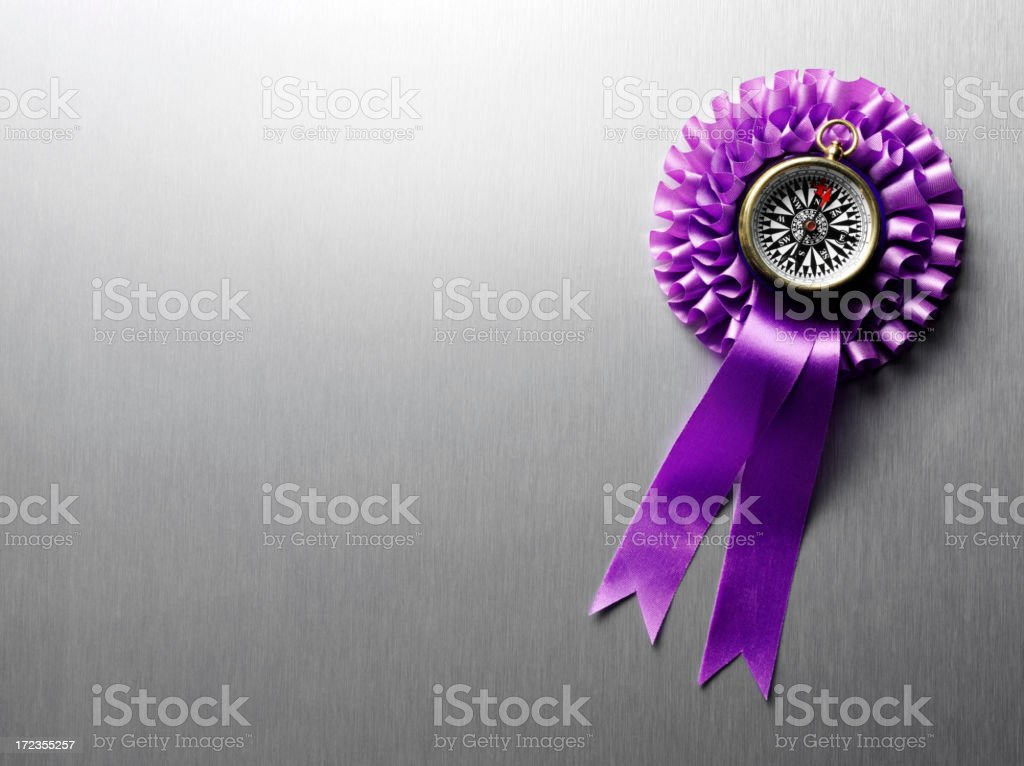 Purple Ribbon Rosette with a Compass on Stainless Steel royalty-free stock photo