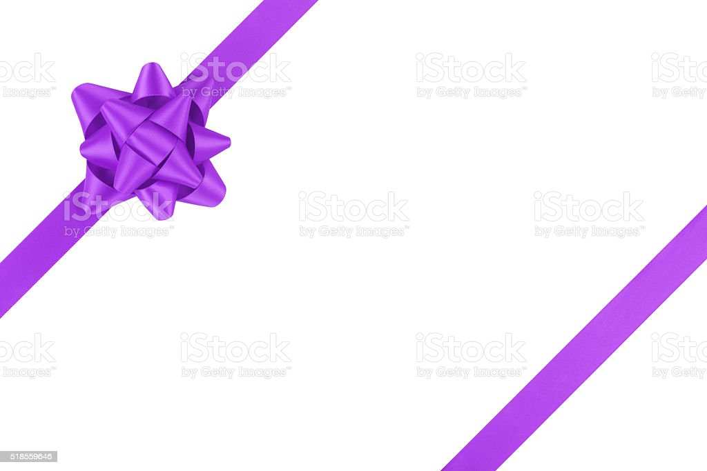 Purple Ribbon Template For Packaging With Gift Bow Isolated Royalty Free Stock Photo