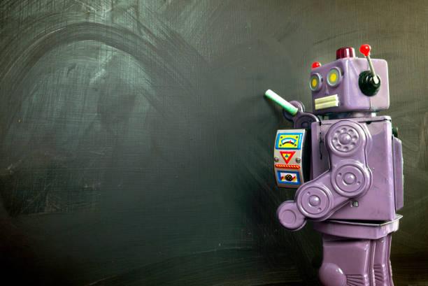 lila roboter lehrer ot die tafel - converse taylor stock-fotos und bilder