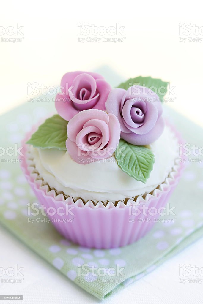 Purple rose cupcake royalty-free stock photo