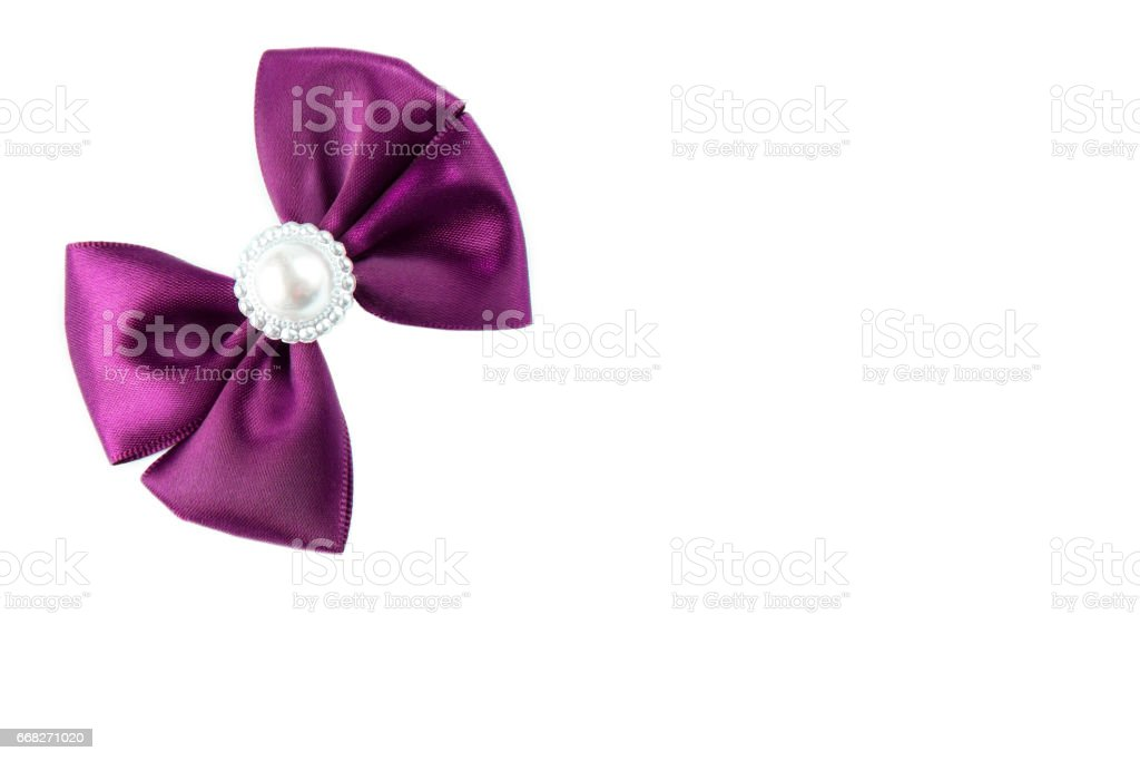 Purple satine bow isolated on white foto stock royalty-free