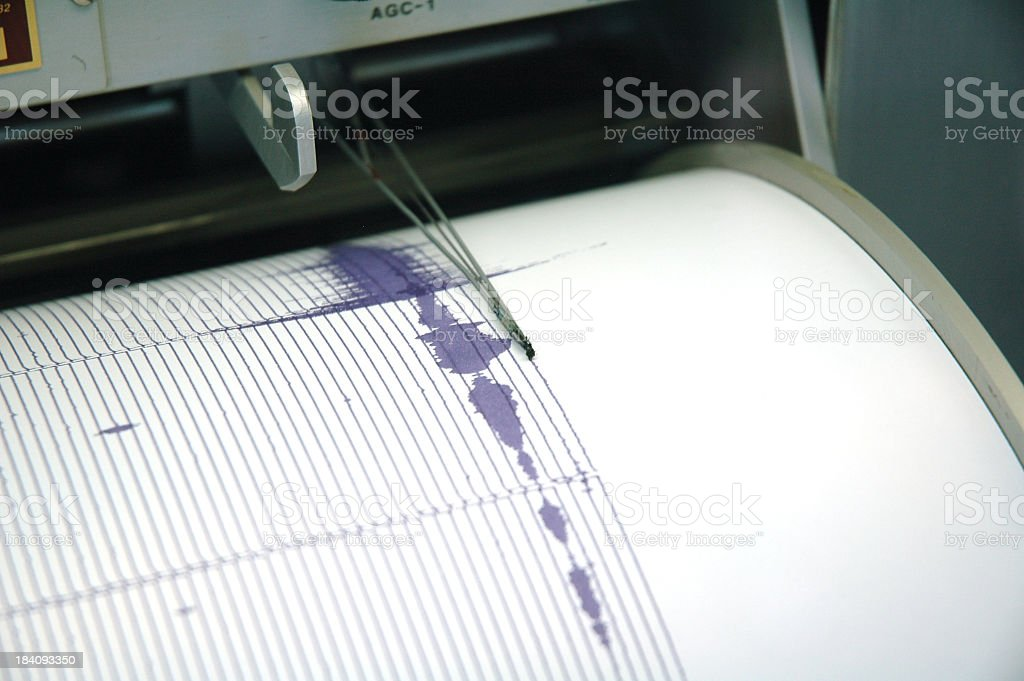 Purple Seismograph stock photo