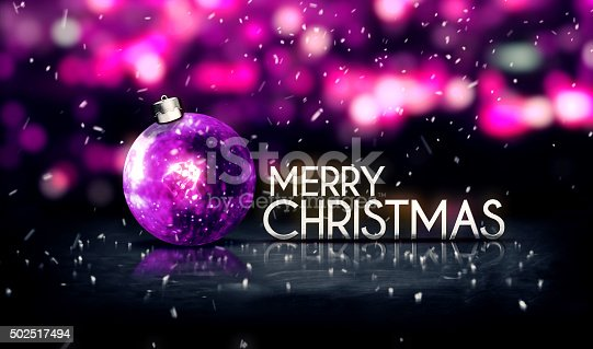 505891566 istock photo Purple Silver Merry Christmas Bokeh Beautiful 3D Background 502517494