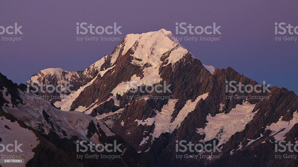 Purple sky over Mt Cook stock photo