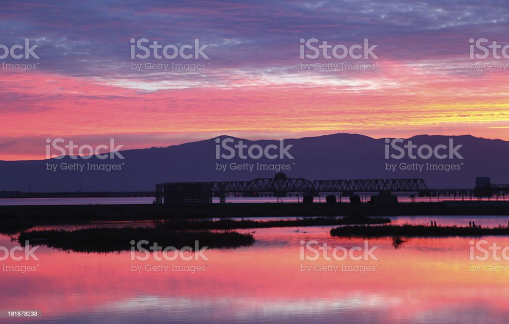 Purple Sky over San Francisco Bay, California, USA royalty-free stock photo