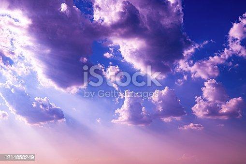 Purple sky with clouds