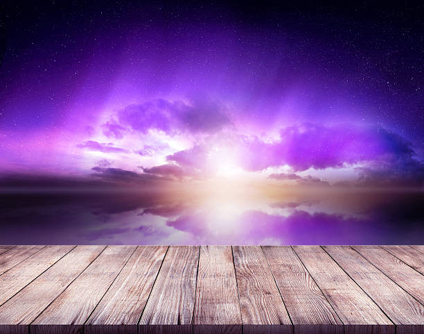purple sky with wooden stand stock photo